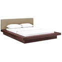 Franklin Modern Latte Fabric + Walnut Platform Bed