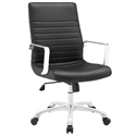 Frederick Modern Black + Chrome Mid Back Office Chair