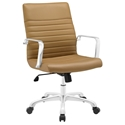 Frederick Modern Tan + Chrome Mid Back Office Chair