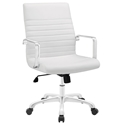 Frederick Modern White + Chrome Mid Back Office Chair