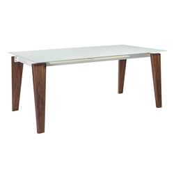 Freja White Tempered Glass + White Powder Coated Steel + Walnut Wood Modern Extendable Dining Table