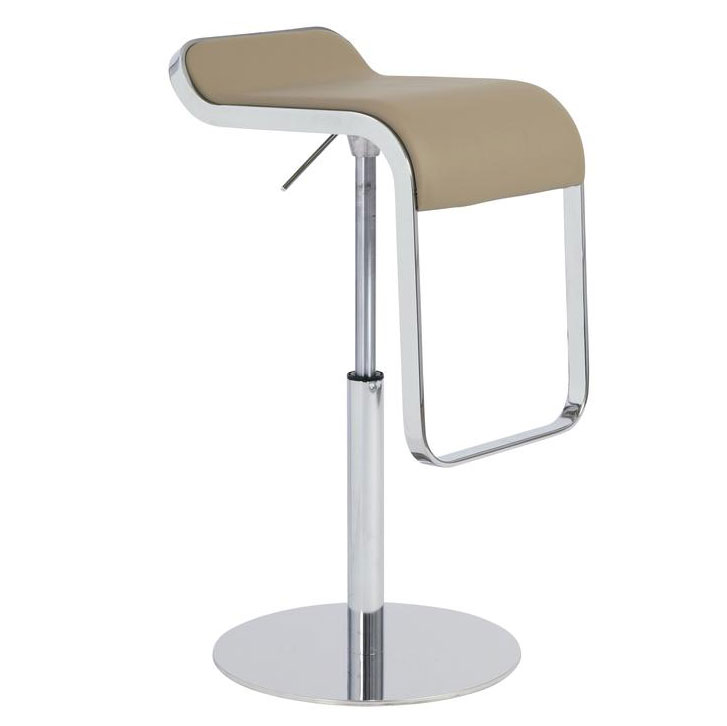 Fresno Adjustable Modern Stool in Taupe Faux Leather with Chrome Base
