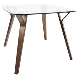 Fribourg Modern Walnut + Glass Dining Table