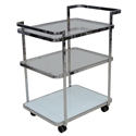 Frivolity Chrome + Glass Modern Bar Cart Kitchen Accessory