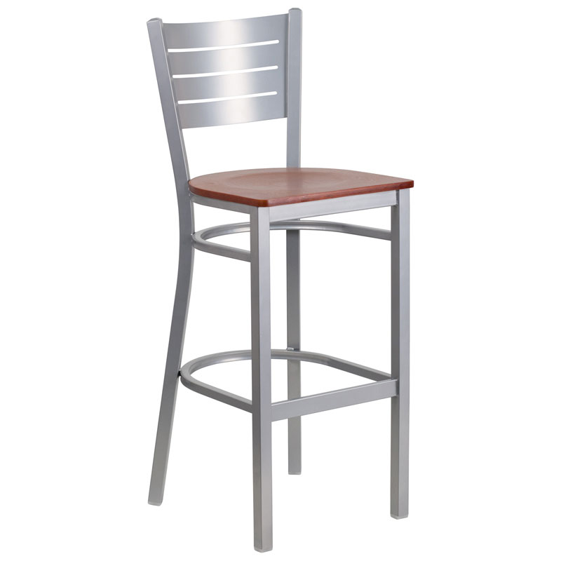 Fulsom Modern Silver + Cherry Bar Stool
