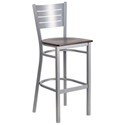 Fulsom Modern Silver + Walnut Bar Stool