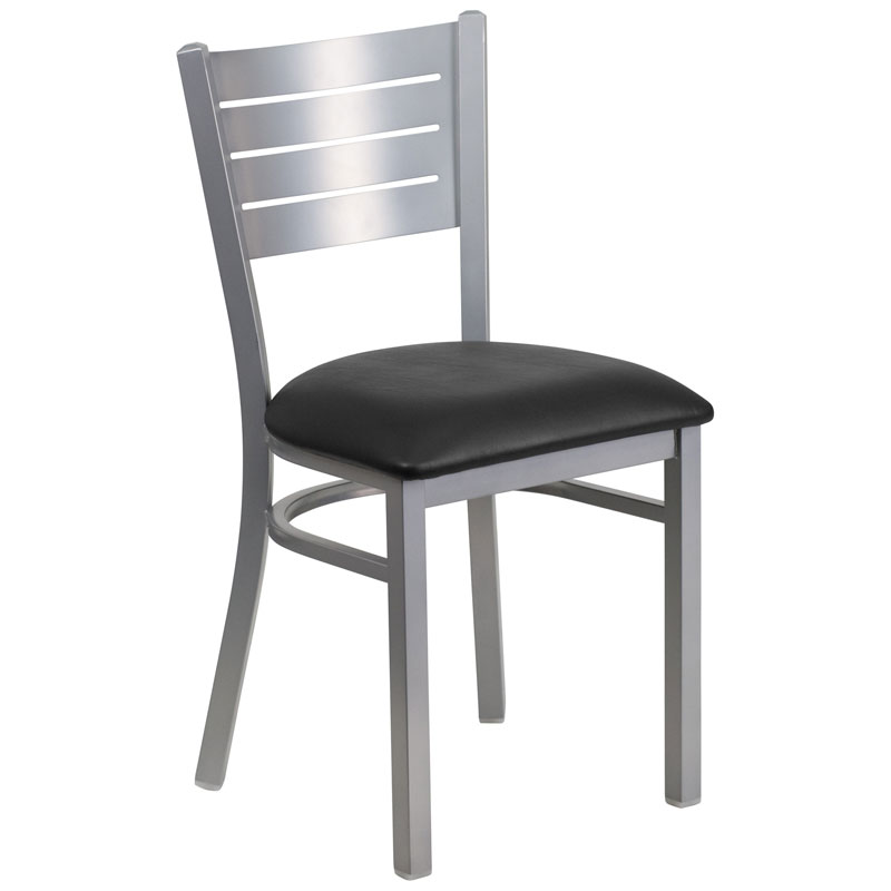 Fulsom Modern Dining Chair in Silver + Black
