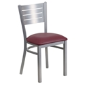 Fulsom Modern Dining Chair in Silver + Burgundy