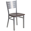 Fulsom Modern Dining Chair in Silver + Walnut