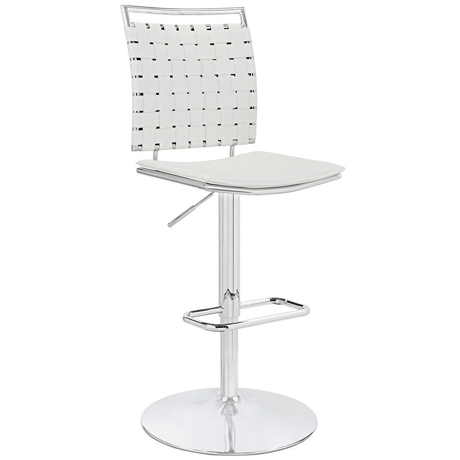 Fusion Modern White Armless Adjustable Stool