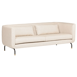 Gabby Modern Sofa in Sand Tan / Beige Fabric Upholstery with Black Metal Legs