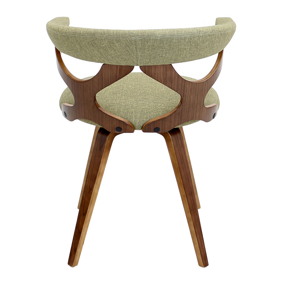 Gad Green Fabric + Solid Walnut Modern Dining Chair