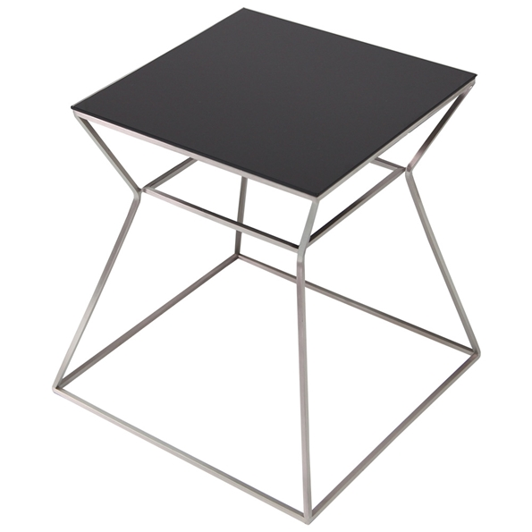 Gakko Modern End Table w/ Black Glass Top by sohoConcept