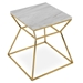 sohoConcept Modern End Table in Gold + White Marble