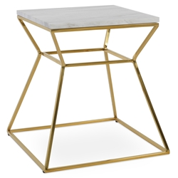 Gakko Modern Gold End Table w/ White Marble Top by sohoConcept
