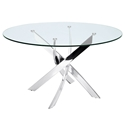 Gallatin Chromed Steel + Clear Glass Round Modern Dining Table