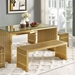 Galvano Contemporary Gold Steel Dining Bench