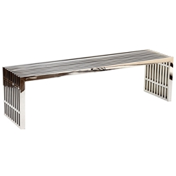 Galvano Modern Polished Steel 60 in Bench