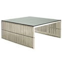 Galvano Modern Polished Steel Coffee Table