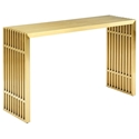 Galvano Modern Gold Steel Console Table - Front View