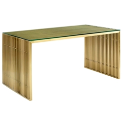 Galvano Modern Gold Steel Dining Table / Desk