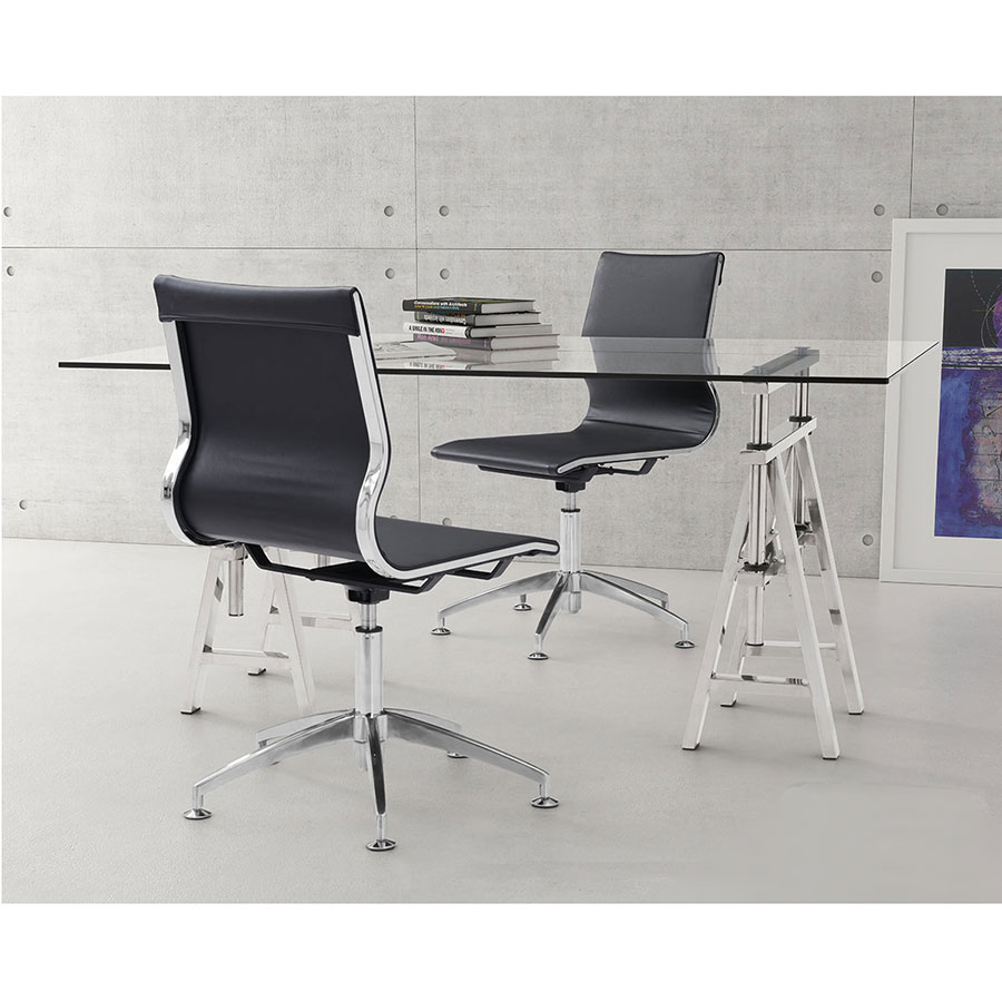 Gamila Black Leatherette + Brushed Steel Modern Conference Side Chair