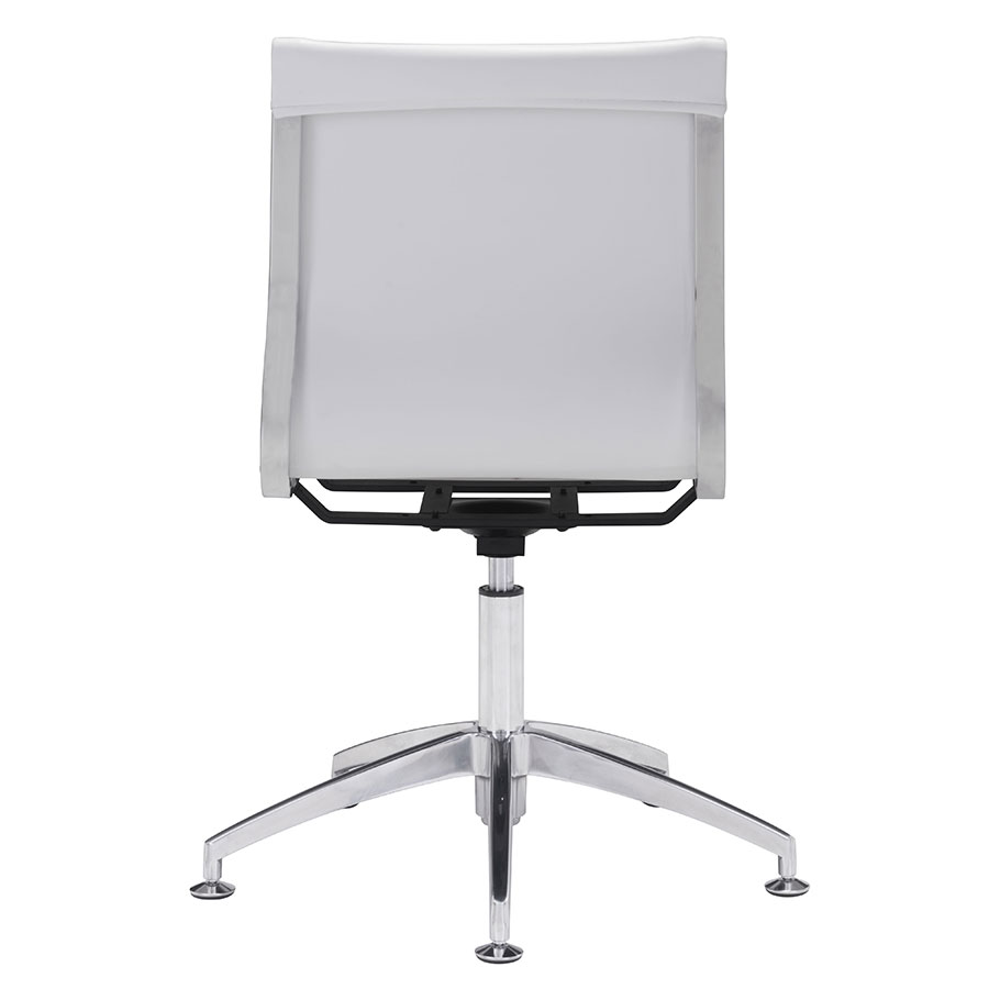 Gamila White Leatherette Contemporary Conference Chair