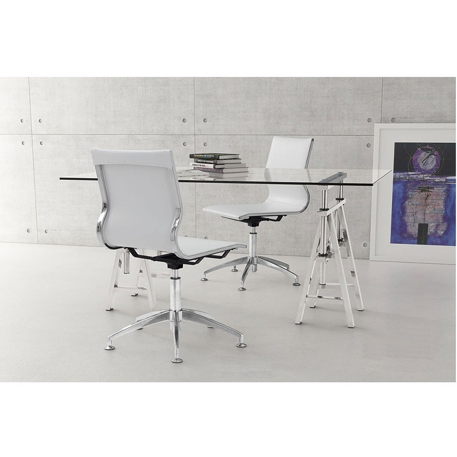 Gamila White Leatherette + Brushed Steel Modern Conference Chair