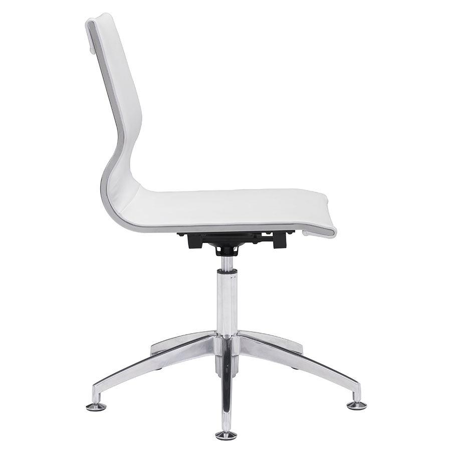Gamila White Leatherette Modern Conference Chair