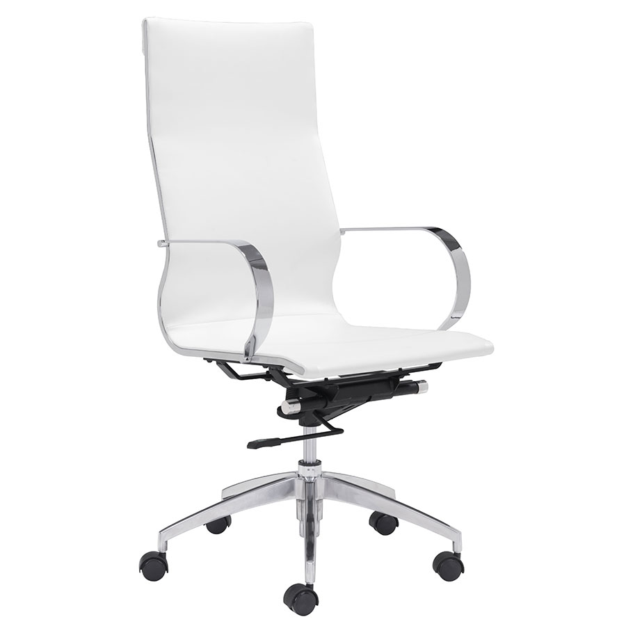 Gamila White Modern High Back Office Chair