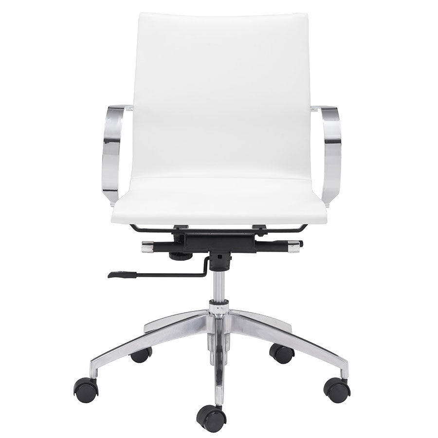 Gamila White Contemporary Low Back Office Chair