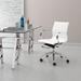 Gamila White Leatherette + Chrome Modern Low Back Office Chair
