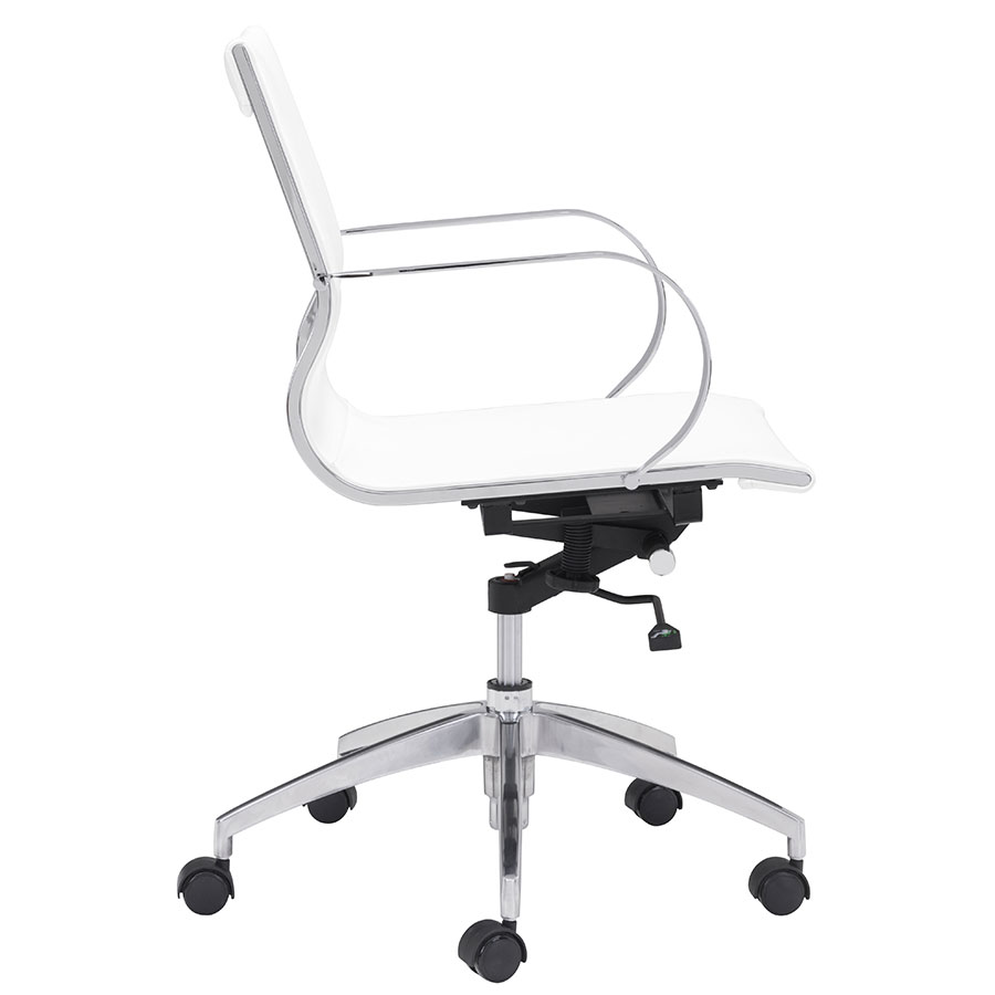 Gamila White Leatherette Modern Low Back Office Chair