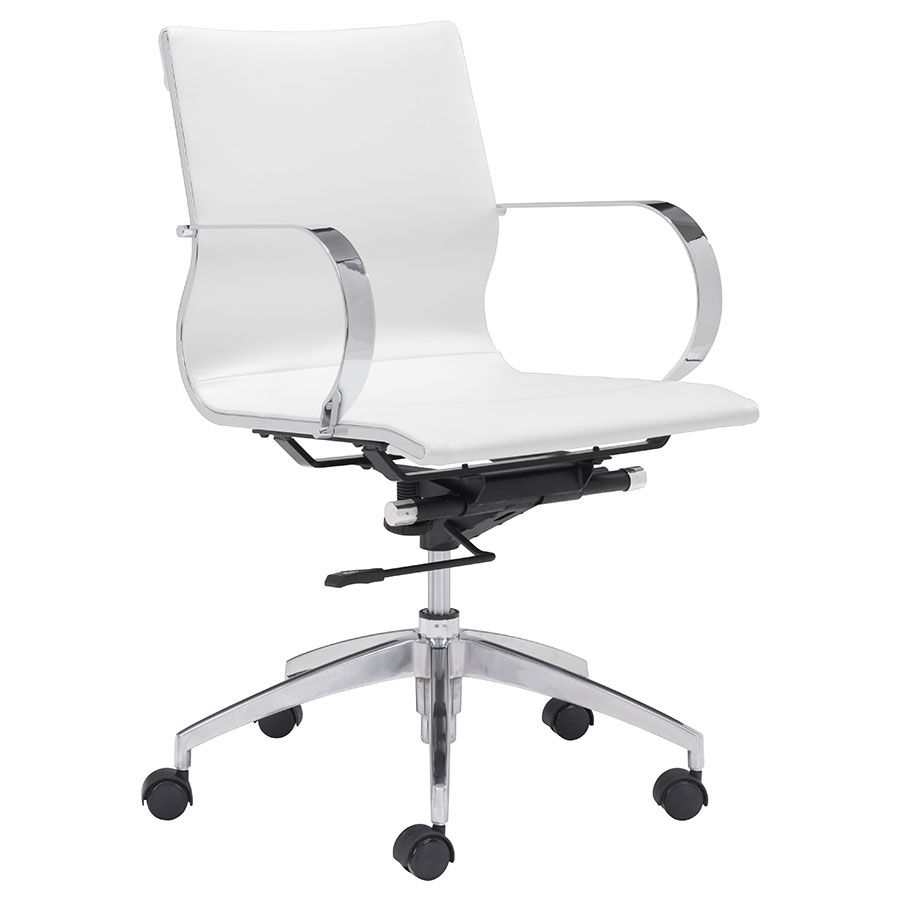 Gamila White Modern Low Back Office Chair