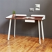Gus* Modern Gander Desk in Walnut Wood and White Powder Coated Steel - Room Shot