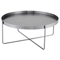Nuevo Gaultier Circular Modern Coffee Table in Brushed Graphite