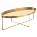 Nuevo Gaultier Oval Modern Coffee Table in Brushed Gold Stainless Steel