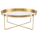 Nuevo Gaultier Round Modern Coffee Table in Brushed Gold Stainless Steel