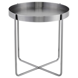 Nuevo Garrison Brushed Graphite Modern End Table