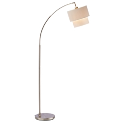 Geel Modern Brushed Steel Arc Floor Lamp