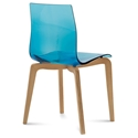 Domitalia Gel-L Side Chair in Blue + Light Oak