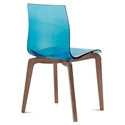 Domitalia Gel-L Side Chair in Blue + Walnut