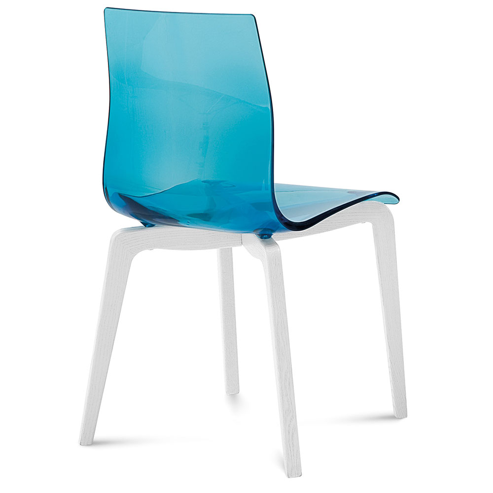 Domitalia Gel-L Blue + White Modern Dining Chair