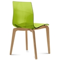 Domitalia Gel-L Side Chair in Green + Light Oak