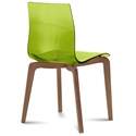 Domitalia Gel-L Side Chair in Green + Walnut