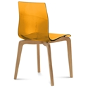 Domitalia Gel-L Side Chair in Orange + Light Oak