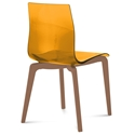 Domitalia Gel-L Side Chair in Orange + Walnut