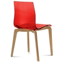 Domitalia Gel-L Side Chair in Red + Light Oak