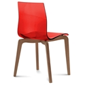 Domitalia Gel-L Side Chair in Red + Walnut