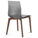 Domitalia Gel-L Side Chair in Smoke + Walnut
